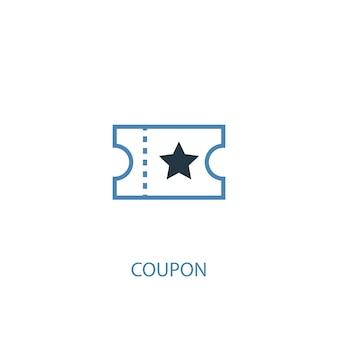 Coupon-konzept 2 farbiges symbol. einfache blaue elementillustration. gutschein-konzept-symbol-design. kann für web- und mobile ui/ux verwendet werden