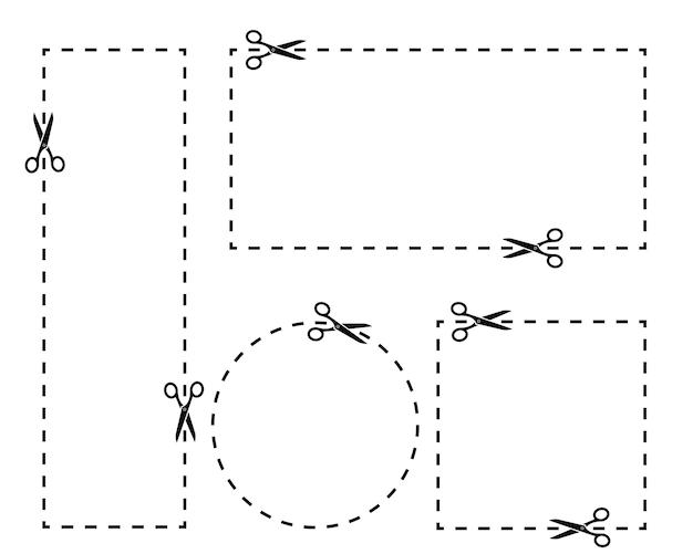 Coupon unterschiedliche form mit einer schere ausschneiden. satz von coupongrenzen. entlang der gestrichelten linie schneiden