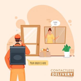 Courier boy informiert sie über die lieferung von bestellungen vom telefon an den kunden und bedankt sich an der tür für die kontaktlose lieferung.