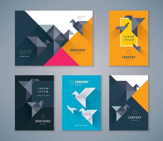Cover-buch-design-set, papier vogel hintergrundvorlagen broschüren
