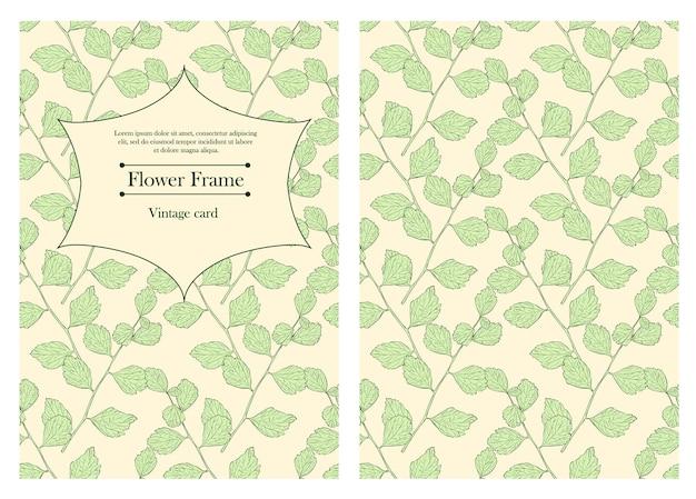 Cover-design für ihr persönliches cover. vintage visitenkartenvorlage. karten für save the date, valentinstag, geburtstagskarten, einladungen. lässt nahtloses muster. vektor-illustration.