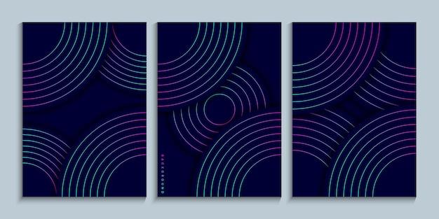 Cover-design-kollektion mit linearen kreisen mit neon-farbverlauf