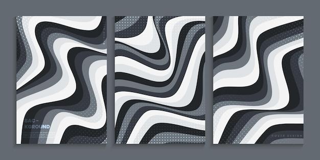 Cover-design-kollektion mit wellenförmigen formen in grauem farbverlauf