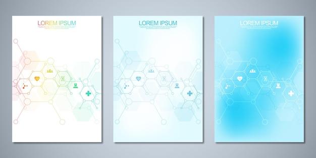 Cover design mit abstraktem chemischem hintergrund und chemischen formeln. konzept und idee für wissenschaft und innovationstechnologie.