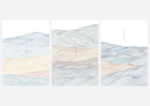 Cover design mit abstrakter landschaft. japanische welle im orientalischen stil.