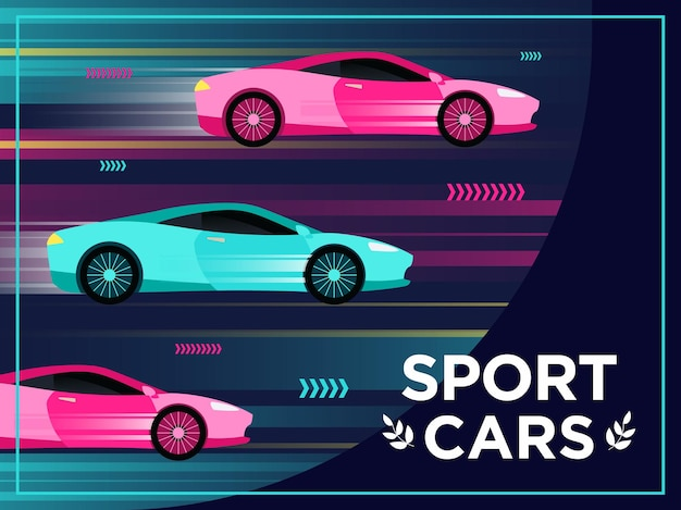 Cover design mit fahrenden sportwagen. schnelle autos in bewegung illustrationen mit text und rahmen.