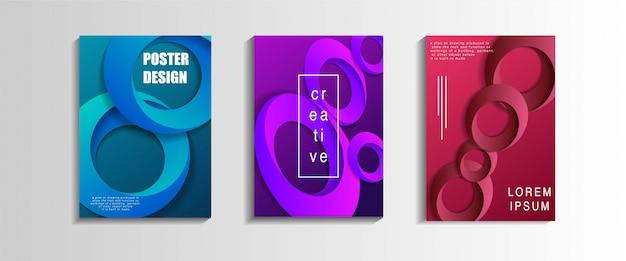 Cover design set mit formen zusammensetzung.