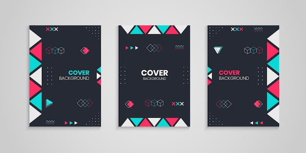 Cover design set mit geometrischer dekoration