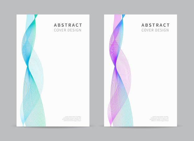 Cover-design-vorlage abstrakte linien welle hintergrund