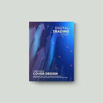 Cover-handel. mit einer illustration eines steigenden aktienhandels-charts, mit einer illustration eines pfeils.