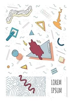 Cover im retro-stil mit geometrischen modernen formen