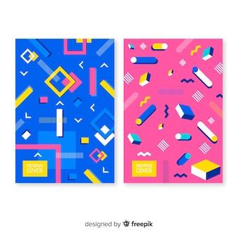 Cover-kollektion im memphis-stil