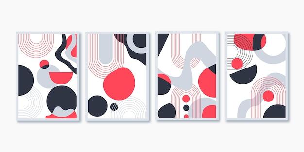 Cover-set für abstrakte kunst im flachen design