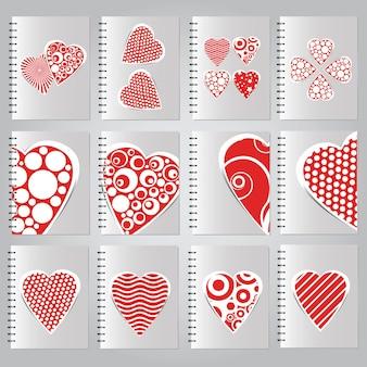 Cover-set für die gestaltung von notizbüchern - verliebt - vektor