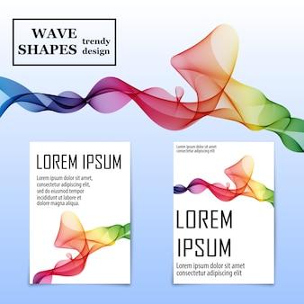 Cover set zusammenfassung. flüssigkeitswellenhintergrund. fluid flow formen.