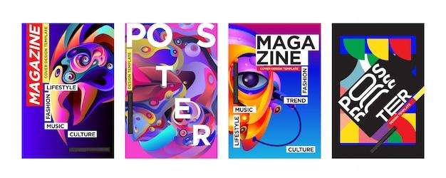 Cover- und poster-designvorlage für das magazin
