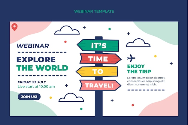 Cover-vorlage für ein flaches reise-webinar