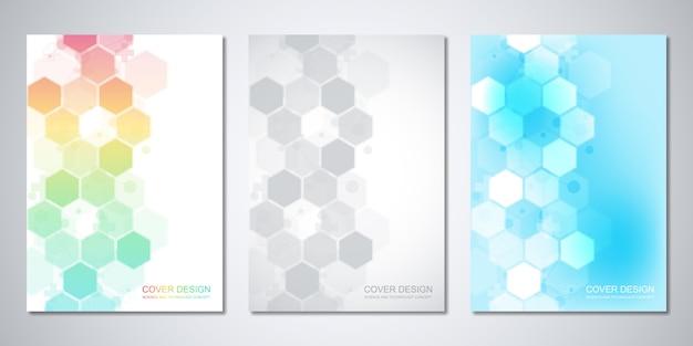 Cover-vorlage mit abstraktem sechseckmuster