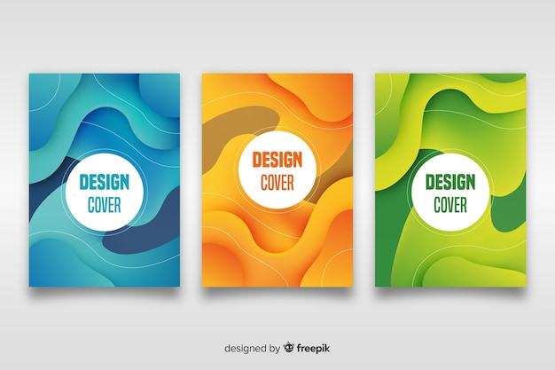 Cover-vorlage mit abstrakten design-set