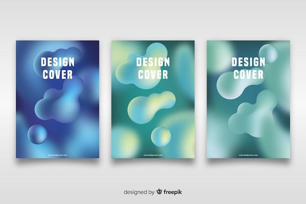Cover-vorlage mit abstrakten design-set