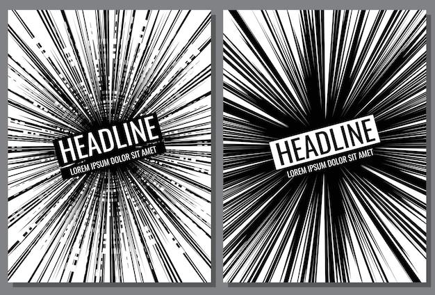 Cover-vorlage mit comic-speed-line-effekt