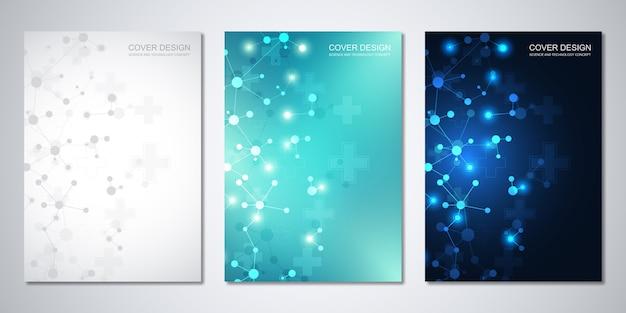 Cover-vorlage mit molekülen hintergrund und neuronalen netzwerk