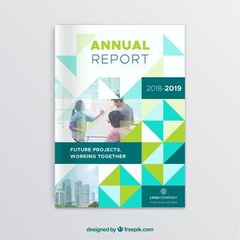 Cover-Vorlage mit polygonalen Stil und Gebäuden