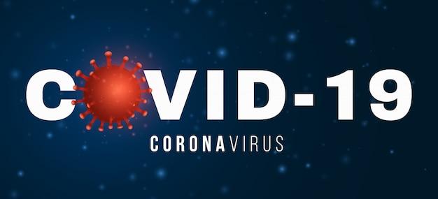 Covid 19 3d virus mikrobe. wissenschaftsbanner. krankheitserreger. illustration