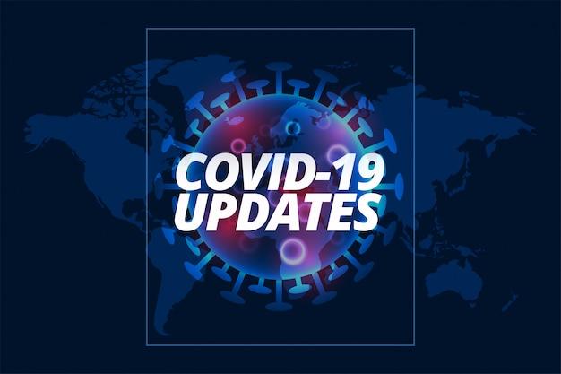 Covid-19 aktualisiert den hintergrund mit der viruszellenvorlage
