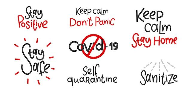 Covid-19-aufkleber-set. coronavirus-schriftzug. elemente für poster, banner, kaffeetassen und becher, t-shirt und notizbuch.