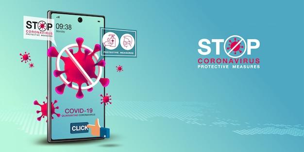 Covid-19-banner für mobile anwendungen und webanwendungen