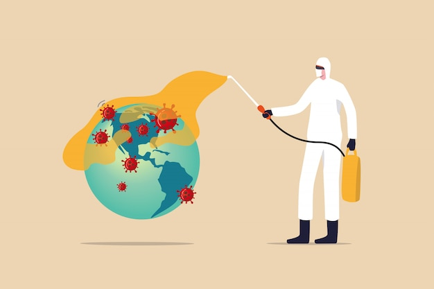 Covid-19-coronavirus-ausbruch, der die krise im us-amerikanischen konzept ausbreitet, medizinischer mitarbeiter mit vollständiger schutzausrüstung, der den planeten erde mit einer karte von amerika mit dem covid-19-virus-pathogen desinfiziert