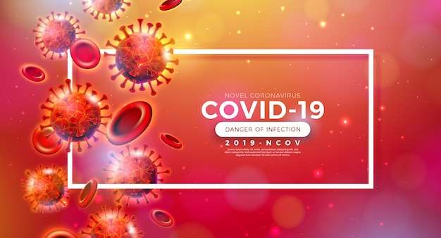 Covid-19. coronavirus-ausbruchsdesign mit virus und blutzelle in mikroskopischer ansicht auf glänzendem rotem hintergrund. 2019-ncov corona virus illustration zum thema gefährliche sars-epidemie für banner.