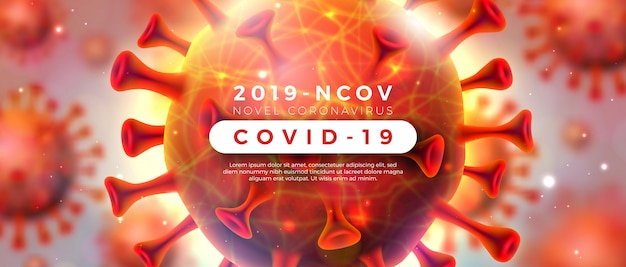 Covid-19. coronavirus-ausbruchsdesign mit viruszelle in mikroskopischer ansicht auf glänzendem hellem hintergrund. 2019-ncov corona virus illustration zum thema gefährliche sars-epidemie für werbebanner.