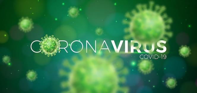 Covid-19. coronavirus-ausbruchsdesign mit viruszelle in mikroskopischer ansicht