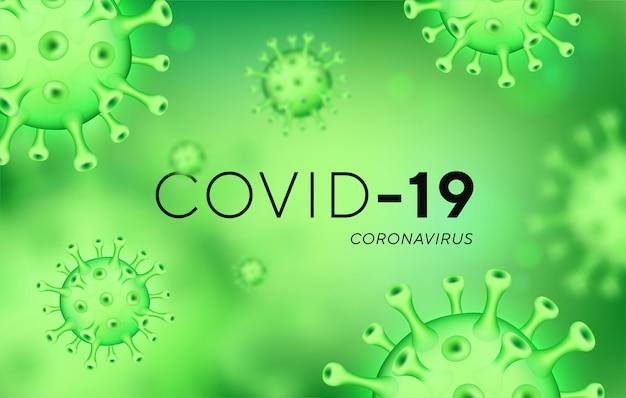 Covid-19 coronavirus hintergrund mit realistischen viruszellen.