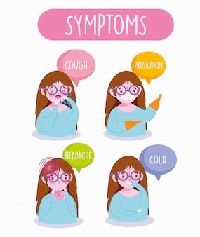 Covid 19 coronavirus infografik, menschen symptome, husten, erkältung, kopfschmerzen und prävention mit medizinischer maske