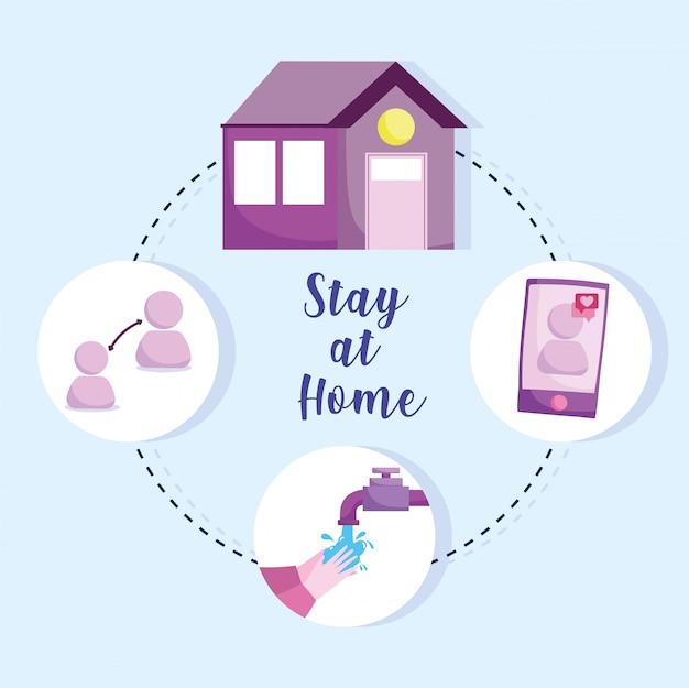 Covid 19 coronavirus infografik, prävention bleiben zu hause, hände häufig waschen und benutzer smartphone nachricht