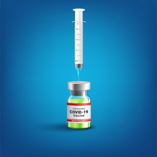 Covid-19 coronavirus-konzept. impfstoffflasche und spritze