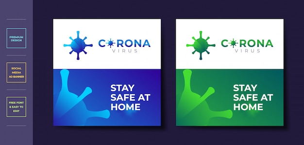 Covid-19 coronavirus social media post banner vorlage