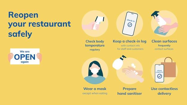 Covid 19 folienvorlagenvektor, sicherheitsmaßnahmen für die wiedereröffnung von restaurants