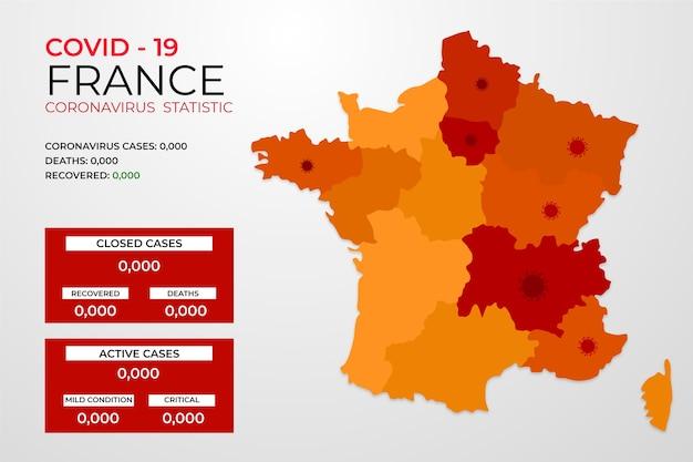 Covid-19 frankreich infiziert mit virus infografik
