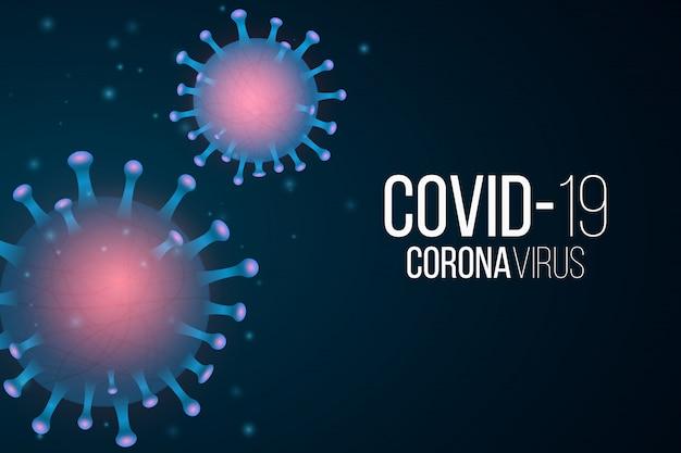 Covid 19 hintergrund. 3d-mikrobe mit lichteffekt. krankheitserreger. illustration