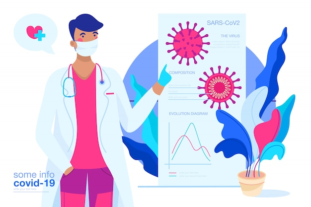 Covid-19-hintergrund mit arzt, der das virus erklärt