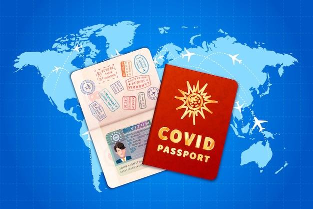 Covid-19-impfpass mit eu-visum auf weltkarte mit flugrouten