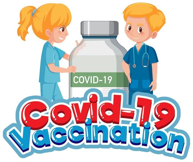 Covid-19-impfschrift mit arzt und covid-19-impfstoffflasche