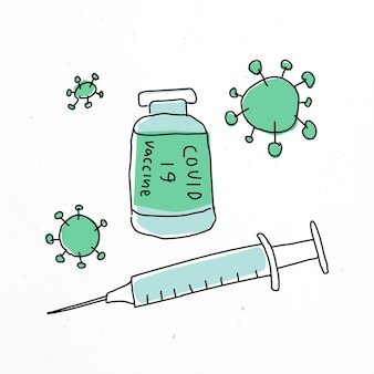 Covid 19-impfstoff-vektor-doodle-illustrationsfläschchen mit nadel-doodle für klinische studien