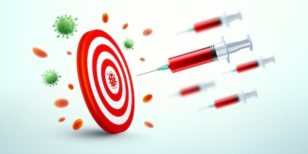Covid-19-impfstoffspritze fliegt zur ziel-dartscheibe. vektor des erfolgs der entdeckung des covid-19-coronavirus-impfstoffs