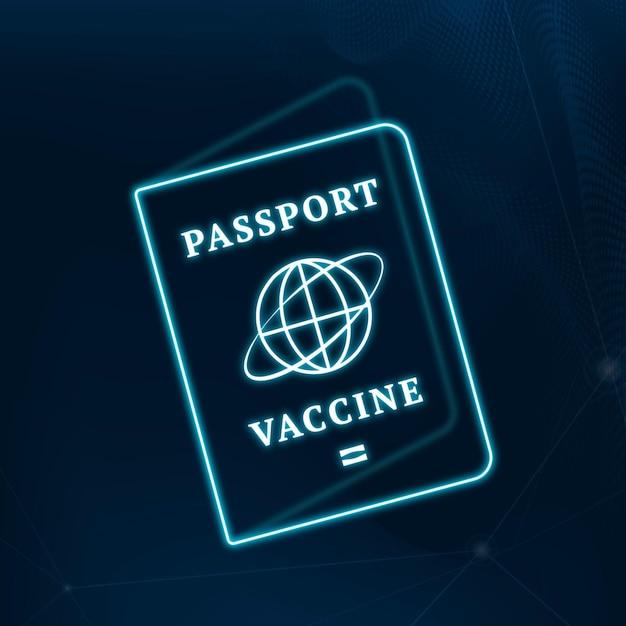 Covid-19-impfstoffzertifikat reisepass vektor blaue neongrafik