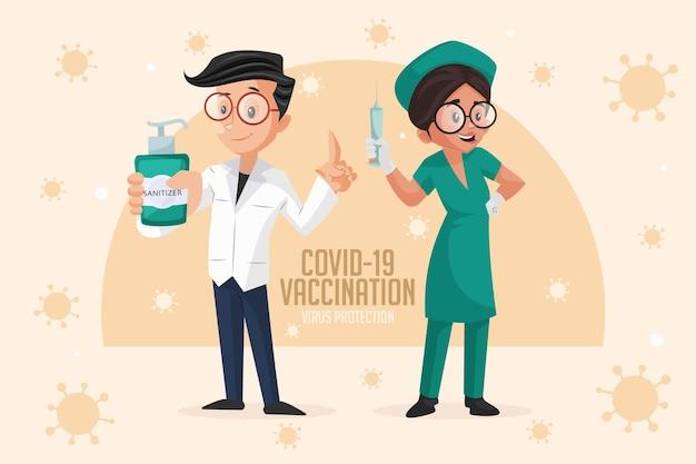 Covid 19 impfvirus schutz banner design-vorlage